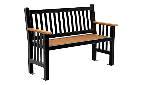 Mall Straight Back Bench - 4 Foot - - Park Cedar Mall