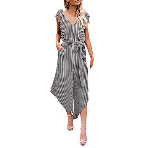 30502d31fbe2 HOYURI 2019 Women s Striped Sleeveless Waist Belted Zipper Back Wide Leg  Loose Jumpsuit Romper with Pockets