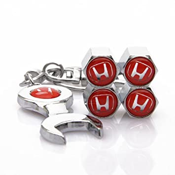 D/&R Wrench Keychain Chrome Tire Valve Stem Caps for Honda Red by DR