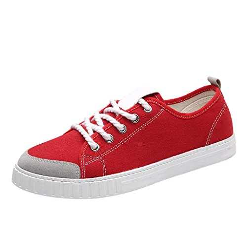 Dear Time Candy Color Summer Shoes Canvas Lace Up Casual Trainers for Men Red