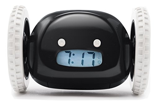 Clocky, the Original Runaway Alarm Clock on Wheels, Black (Clock Alarm Puzzle)