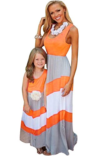 RUYUE Mommy and Me Matching Dresses Long Maxi Beach Sundress Orange 1-2T