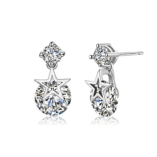 Winter's Secret Double Diamond Studded Style Five Star Pendant Dangle Silver Color Earring