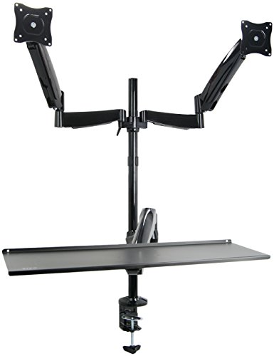 "VIVO Dual Monitor Sit-Stand Height Adjustable Workstation Standing Desk Mount Deluxe Gas Spring / Holds 2 Screens 13"" to 27"" (STAND-SIT2)"