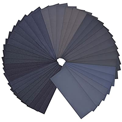 42 Pieces Wet Dry Sandpaper Assortment 120 to 3000 Grit Abrasive Paper Sheets 9 by 3.6 Inches for Automotive Sanding, Wood Furniture Finishing, Wood Turing Finishing