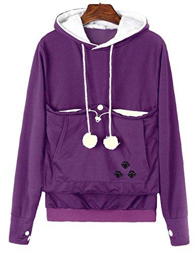 Sexyshine Women's Big Kangaroo Pouch Hoodie Pet Cat Dog Holder Carriers Pullover Sweatshirts(PE,L) Purple