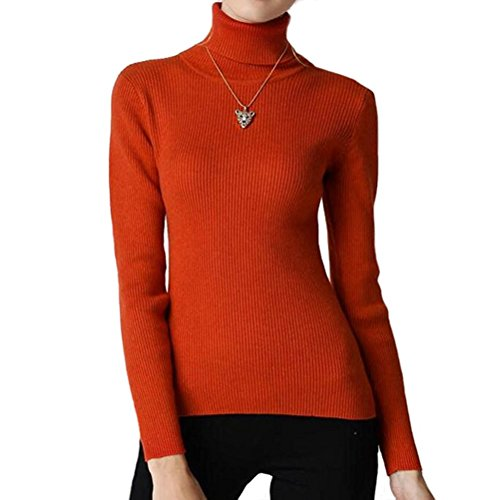 (Fengtre Women's Cashmere Stretchy Turtleneck Basic Pullover Sweater Knit Top,Orange M)