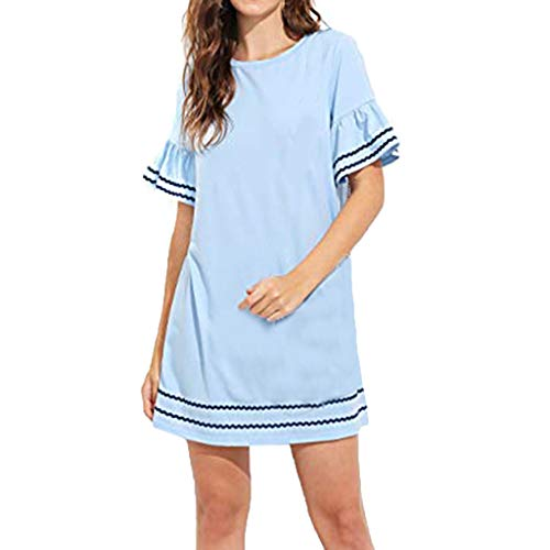 Sunhusing Ladies Summer Stylish Casual Round Neck Petal Cuffs Short Sleeve Ruffled Hem Loose A-Line Dress Blue