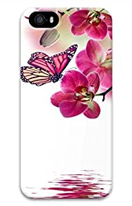 Brian114 iPhone 5S Case - Butterfly Orchid And Butterfly 4 Back Case Cover for iPhone 5 5S Hard 3D Cases