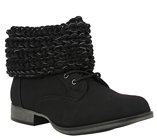 Slouch Sweater Black Vegan Suede Women's Ankle Cuff Boots