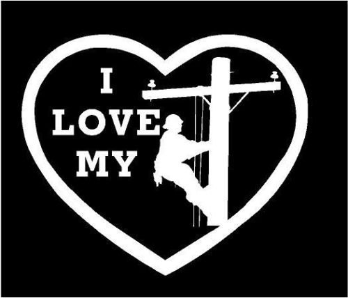 WHITE Vinyl Decal I love my lineman heart pole electric fun sticker, die cut vinyl decal for windows, cars, trucks, tool boxes, laptops, MacBook - virtually any hard, smooth surface