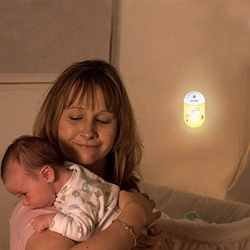 ACTOPP Nachtlicht Steckdose LED Intelligente Nachtlampe mit D/ämmerungssensor f/ür Kinder Baby automatisch Nachtleuchte Tragbare Nachttischlampe Kinderzimmer//Schlafzimmer//Bad//Wohnzimmer Gang warmwei/ß