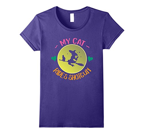 Womens My Black Cat Rides Shotgun T-Shirt Cute Halloween Costume Large (Scary Ragdoll Costumes)