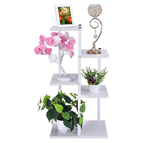 shamoluotuo Plant Stand Shelf Iron Art Corner Square Floor Rack Living Room Balcony Furniture Steel Wood Flower Stand Storage Box Partition Landing (White, 16.5×7.8×31.5in) (Ideas Furniture Balcony)