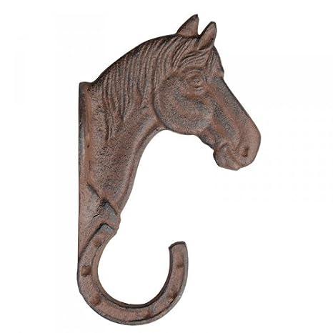 Garderobenhaken Kleiderhaken Pferd Gusseisen  Haken  12 cm Garderobe Pferdekopf