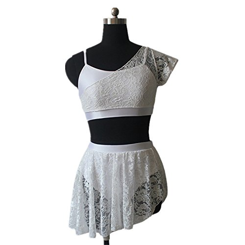 Contemporary Ballet Costumes (Adult Ballet Dance Lycra Crop Top Shorts Lace Overlay Contemporary Dress Small White)