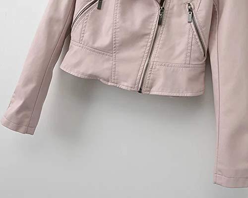 Donna Pelle Zip Motociclista Da Asimmetrica Corta Pink Finta Giacca 7ZWtOvTnv