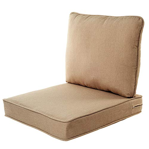 Quality Outdoor Living All Weather Deep Seating Patio Chair Seat and Back Cushion Set, 23-Inch by 26-Inch, Beige (Outdoor Cushion Seat Deep)