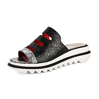 Heart&M Mujer-Tacón Plano Media plataforma-Creepers Confort Zapatos agujero-Zapatillas y flip-flop-Exterior Informal-Semicuero-Negro Azul Morado Black