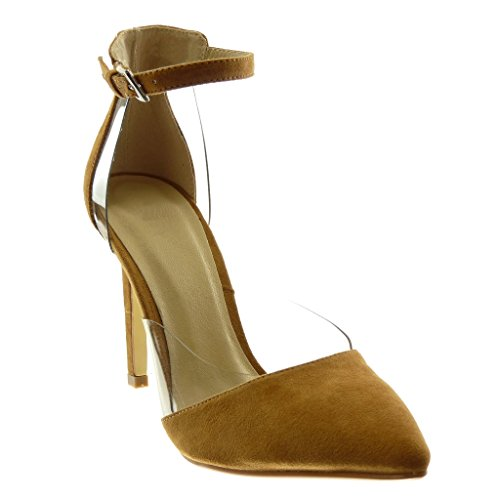 Angkorly Damen Schuhe Pumpe Sandalen - Stiletto - Knöchelriemen - Dekollete - Transparent - String Tanga Stiletto High Heel 10.5 cm Camel