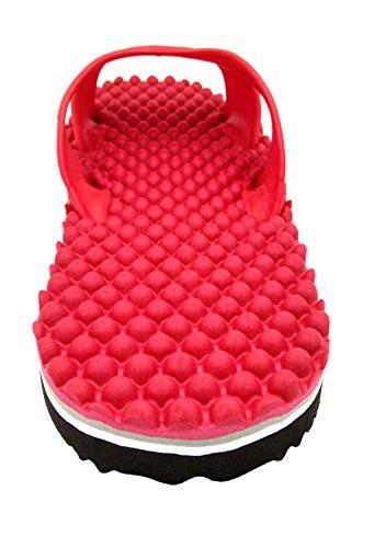 Meimei Massage Tongs Pantoufles Unisexes Respectueux De Lenvironnement, Anti Glissement Et Confortables Sandales Plates Rouges