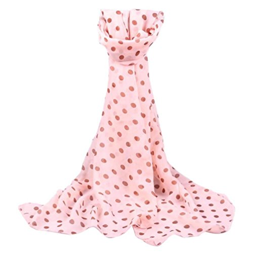 Creazy Women Long Wrap Shawl Polka Dot Chiffon Scarf Scarves Stole (Pink)]()