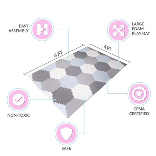 Baby Brielle Interlocking Hexagon Floor Foam Tile Activity Mat for Tummy Time, Crawling, and Playing Ultra Thickness Playmat for Infants and Toddlers for Nursery Room Grey/White/Cream