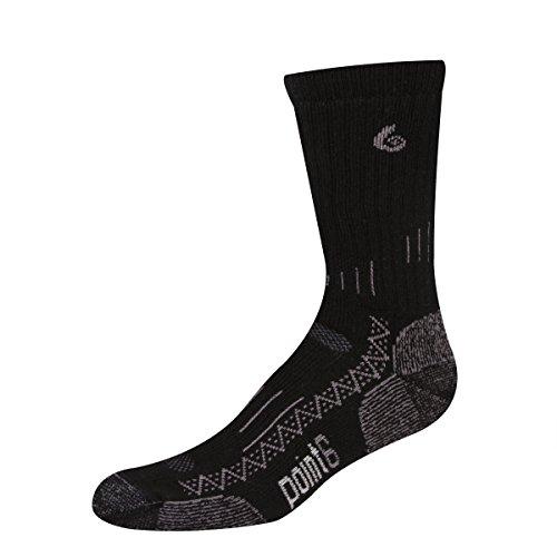 point6 Men's Boot Heavy Crew Socks (Black, Medium)