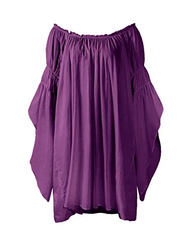 ReminisceBoutique Renaissance Medieval Peasant Dress up Pirate Faire Celtic Blouse (Regular, Purple) ()