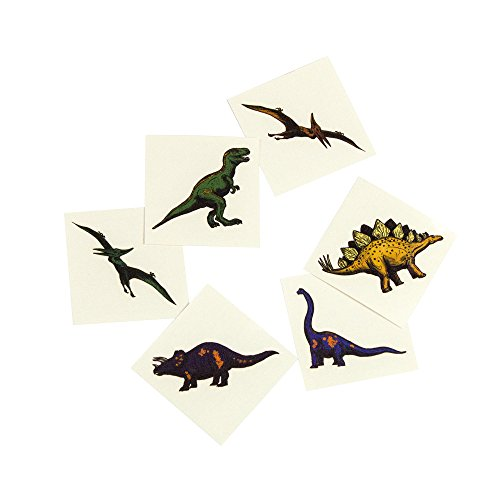 Fun Central (AZ959) 2 Packs of 72 Pieces Cool Dinosaur Tattoos, Assorted Dinosaur Temporary Tattoos Kit, Fun Temporary Tattoos for Kids and Boys