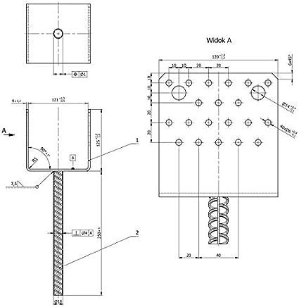Placa base GRUNDLINE anclaje para hormig/ón tipo U 121x120x60x4,0 PS