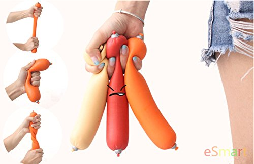 eSmart Silicone Stress Sausage Anti Stress Toy Relief Vent Squeeze Gag Stretch Prank Joke Pressure Reliever Great Holiday Gift (Orange)