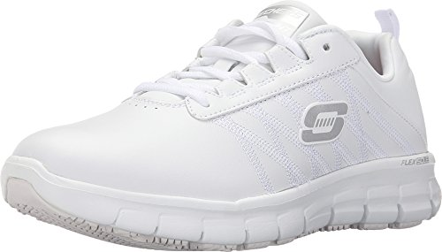 Skechers Women's Work Relaxed Fit Sure Track Erath Slip Resistant,White,US 5 M