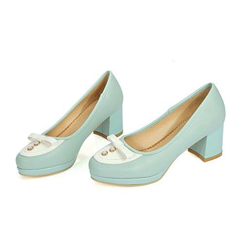 VogueZone009 Damen Ziehen auf Rund Zehe Mittler Absatz Gemischte Farbe Pumps Schuhe Blau