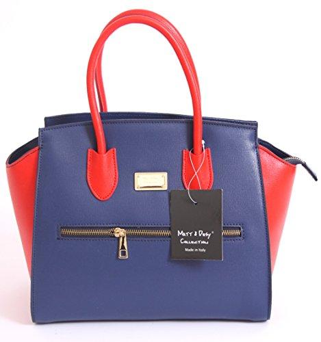 Matt e Desy collection - Bolso de asas de Piel para mujer blu rosso