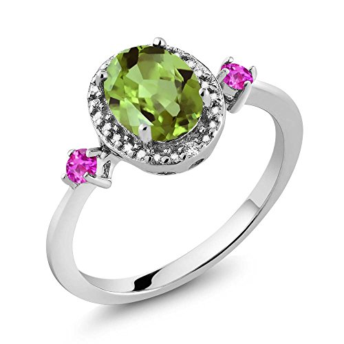 Natural Sapphire Green (1.50 Ct Oval Green Peridot Pink Sapphire 925 Sterling Silver Ring With Accent Diamond)
