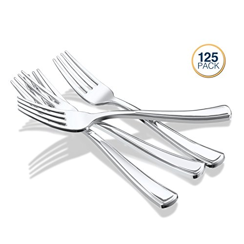 Klikel Silver Plastic Forks – 125 Count - Heavy Duty Disposable Silverware -– Elegant Party Cutlery - Reusable Paper Good Supplies For Dinner Parties by Klikel