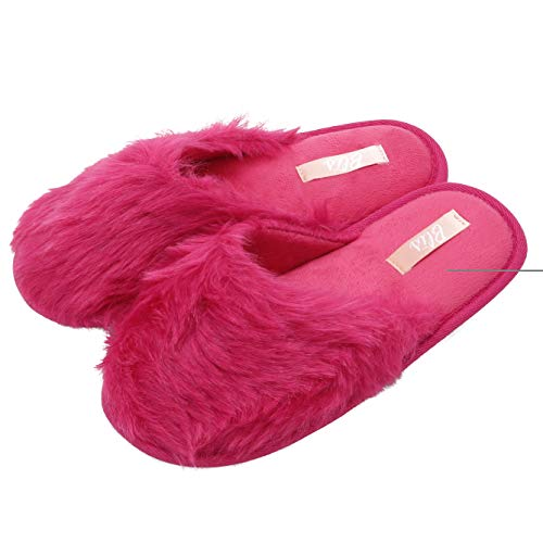 Blis Women's Furry Knit House & Bedroom Slippers - Soft & Cozy Slip Ons - Hot Pink - L (Women Slippers For Hot Pink)