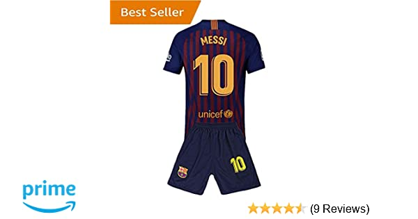 695610eff Amazon.com   10 Messi Barcelona Kids Youth Home Boys Soccer Jersey   Shorts  18-19 Season Red Blue  Clothing