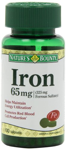 Nature's Bounty Iron 65 Mg.(325 mg  Ferrous Sulfate), 100 Tablets (Iron Tablets)