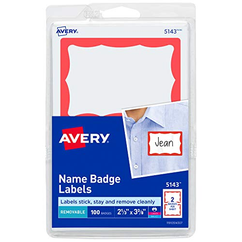 Avery Name Badge Labels, Red Border, 2-11/32