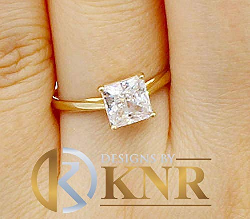 - Women's 14k Yellow Gold Princess Simulated Diamond Engagement Ring, Bridal, Wedding, Anniversary, Prong Set, Solitaire, Brilliant 1.20ctw