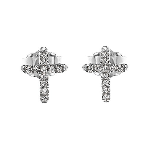 - White Gold Diamond Cross Elegant Stud Earrings