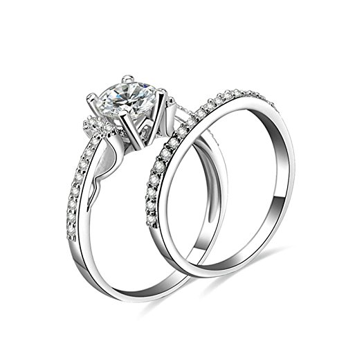 (Daesar Wedding Bands His and Hers 4-Prong Setting Round Cubic Zirconia Ring Set Ring Size 7.5)