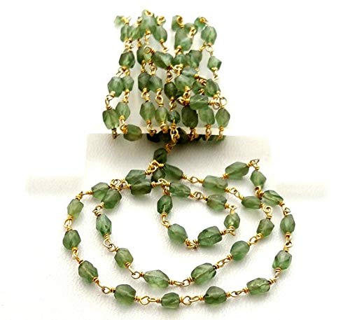 (GemAbyss Beads Gemstone Rosary Chain Green Apatite Faceted Oval Beads,925 Sterling Silver, 24 k Gold Plated,Rosary Style, Wire Wrapped Chain,Chain Per Foot Size - 4x6 mm [E1732] Code-MVG-32801)