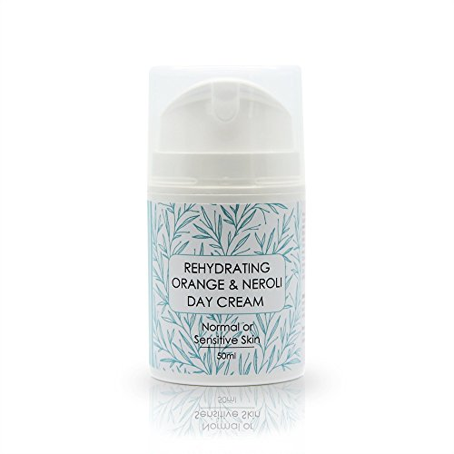 Rehydrating Neroli Daily Moisturiser 50ml Normal or Sensitive skin, Light day cream infused with Neroli, Sage, Orange, Ylang Ylang essential oils, Vegan Face - Light Neroli