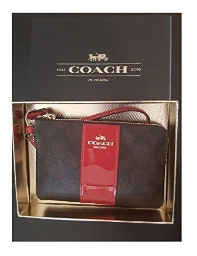 Coach Signature Leather True Red Corner Zip Wristlet In G...