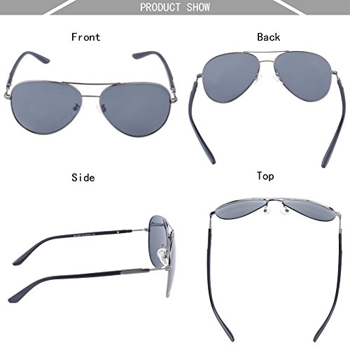 DUCO Premium Aviator lunettes de soleil polarisées pour une protection UV 100 % hommes femmes 3027 Gunmetal