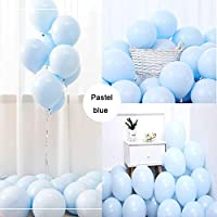 """Party Pastel Balloons 100 Pcs 10"""" Macaron Candy Colored Latex Balloons for Birthday Wedding Engagement Anniversary Christmas Festival Picnic or Any Friends & Family Party Decorations-Pastel Blue"""