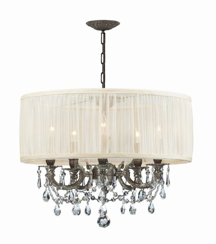 Crystorama 5535-PW-SAW-CL-MWP, Brentwood Mini Crystal Chandelier Lighting, 5LT, 300 Watts, Pewter ()